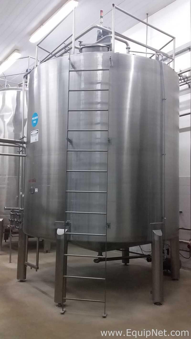 Globo Inox 20000 Liter Vertikaler Lagertank aus Edelstahl mit Rührwerk