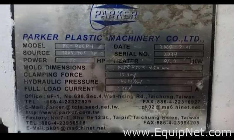 Parker Plastic Machinery Co Ltd PK 90 CDH Molding System